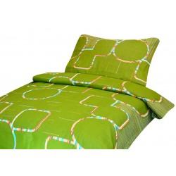 Pamut kétszemélyes ágyneműhuzat - Zöld, színes körökkel