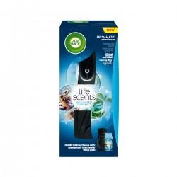Air Wick légfrissítő + utántöltő - Freshmatic – Türkizkék lagúna - 250 ml – fekete
