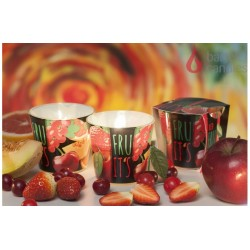 Illatos gyertya üvegben - piros gyümölcsök, 100g