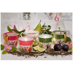 Illatos gyertya üvegben - Fekete tea, szilva, cseresznye virág 115 g