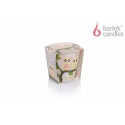 Illatos gyertya üvegben – Bagoly – Tutti Frutti, 115g