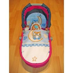 SDS ágynemű játék babakocsiba - Bagoly, kék