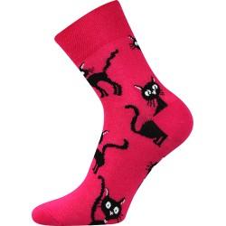 Moda Čapek női zokni - Bíborvörös macska