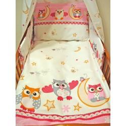Pamut ágyneműhuzat kiságyba - Bagoly, rózsaszín