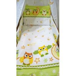 Pamut ágyneműhuzat kiságyba - Bagoly, zöld