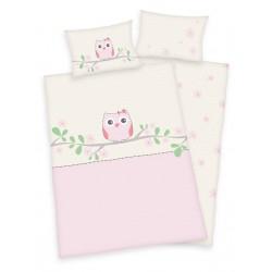Pamut ágyneműhuzat kiságyba - Rózsaszín bagoly