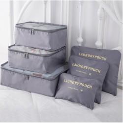 Praktikus táskák és rendszerezők utazáshoz - 6 db - szürke