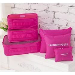 Praktikus táskák és rendszerezők utazáshoz - 6 db - rózsaszín