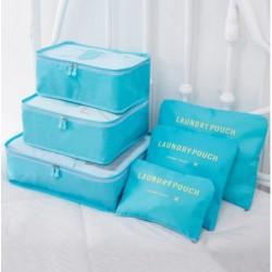 Praktikus táskák és rendszerezők utazáshoz - 6 db - világoskék