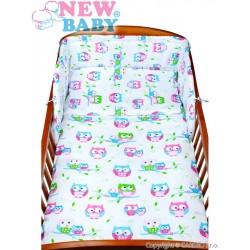New Baby kétrészes gyerek ágyneműhuzat - fehér baglyok - 120 x 90