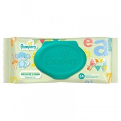 Pampers Natural Clean Törlőkendő, 64db