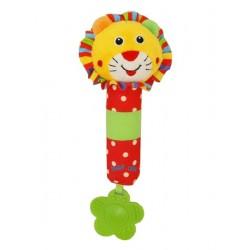 Gyerek sípoló plüss játék csörgővel - oroszlánkölyök - Baby Mix