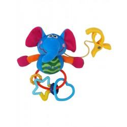 Gyerek plüss játék csörgővel - kiselefánt - Baby Mix