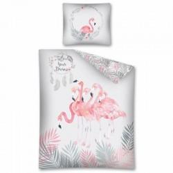 Gyerek ágyneműhuzat - Flamingók - szürke - 140x200