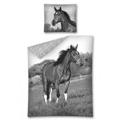 Gyerek ágyneműhuzat - Ló - feketefehér - 140x200