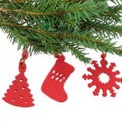 Karácsonyi dekoráció szett - piros - 9 db