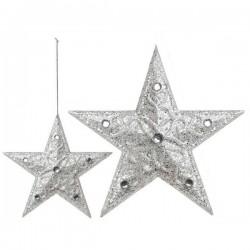 Karácsonyi dísz - ezüst csillagok - 10 cm - 3 db