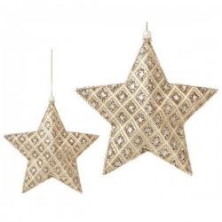 Karácsonyi dísz - arany csillag - 18 cm - 3 db