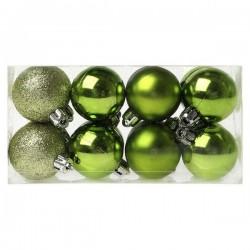 Karácsonyi gömb díszek - zöld - 4 cm - 16 db