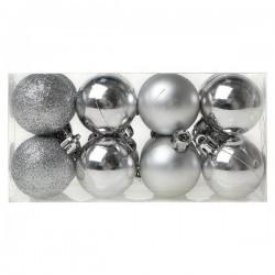 Karácsonyi gömb díszek - ezüst - 4 cm - 16 db
