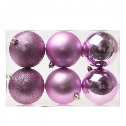 Karácsonyi gömb díszek - lila - 8 cm - 6 db