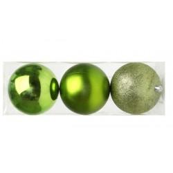 Karácsonyi gömb díszek - zöld - 10 cm - 3 db