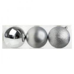 Karácsonyi gömb díszek - ezüst - 10 cm - 3 db