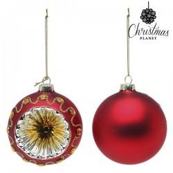 Karácsonyi üveg gömb díszek - piros - 8 cm - 2 db