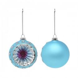 Karácsonyi üveg gömb dísz - kék - 8 cm - 2 db