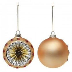Karácsonyi üveg gömb díszek - arany - 8 cm - 2 db