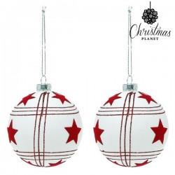Karácsonyi üveg gömb díszek - fehér csillagokkal - 8 cm - 2 db