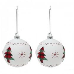 Karácsonyi fehér üveg gömb díszek - kisfával - 8 cm - 2 db