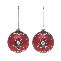 Karácsonyi piros üveg gömb díszek - kisfával - 8 cm - 2 db
