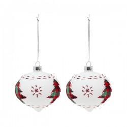 Karácsonyi fehér hegyes gömb díszek - kisfával - 8 cm - 2 db