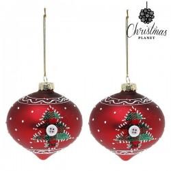Karácsonyi piros hegyes gömb díszek - kisfával - 8 cm - 2 db