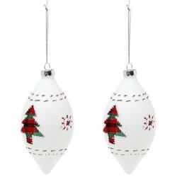 Karácsonyi üveg gömb díszek - fehér - 13 cm - 2 db