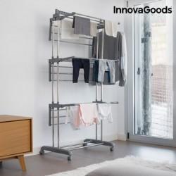 InnovaGoods összecsukható ruhaszárító, kerekekkel - 18 rúd