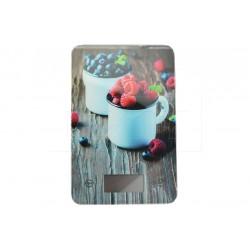 EH üveg digitális konyhai mérleg 5 kg-ig - 22 x 16 cm - málna