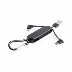Kulcstartó - USB kábellel és két konnektorral - fekete