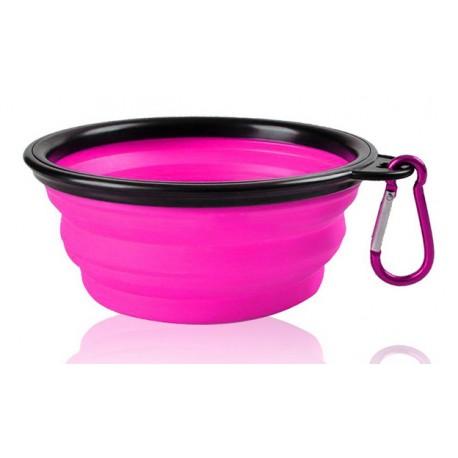 Szilikon összecsukható tálka kutyáknak - rózsaszín