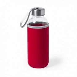 Üveg palack neoprén tokkal 145513 - 420 ml - piros