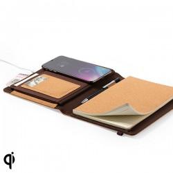 Jegyzettömb vezeték nélküli Qi töltővel - parafa