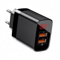 Baseus töltő 3.0 CCJMHA-A01 - kijelzővel - 2x USB - 18 W - fekete