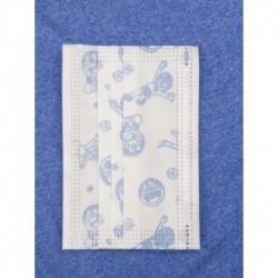Egyhasználatos gyerek szájmaszk - fehér kék képekkel - 10 db