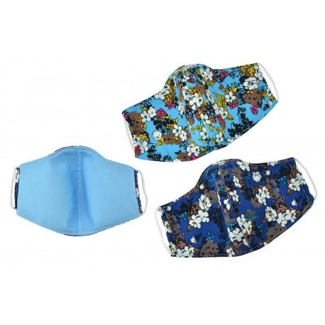 Textil többhasználatos szájmaszk virágokkal - kék árnyalatok - 1 db