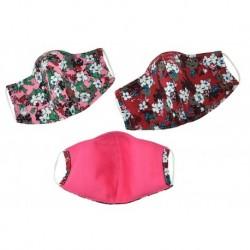 Textil többhasználatos szájmaszk virágokkal - piros árnyalatok - 1 db
