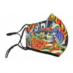 Textil többhasználatos szájmaszk - koponya kalappal és kaszással