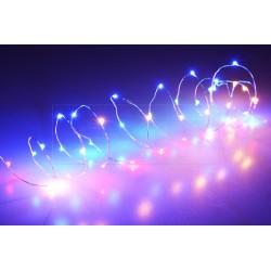 Színes elemes LED fényfüzér - 105 cm - 20 dióda
