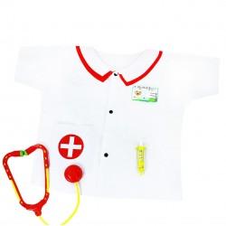 Rappa gyerek egészségügyi dolgozó jelmez - mű injekciós tűvel és sztetoszkóppal