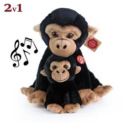 Rappa plüss majom a kölykével - hanghatással - 27 cm